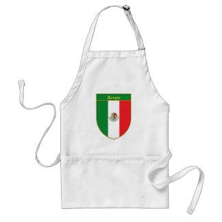 Amor Mexico Flag Shield Adult Apron