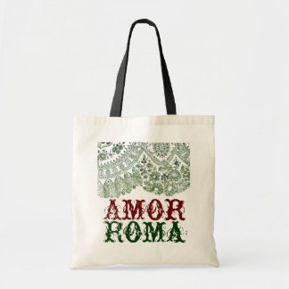 Amor Roma With Green Lace Budget Tote Bag