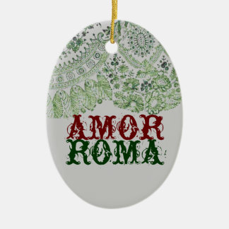 Amor Roma With Green Lace Ceramic Ornament