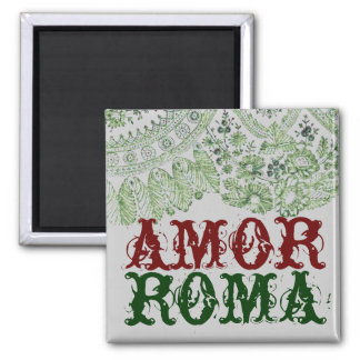 Amor Roma With Green Lace Square Magnet