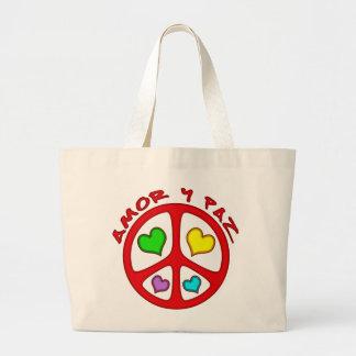 Amor y Paz Jumbo Tote Bag