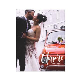 Amore, Modern Script • Custom Photo, Names & date Canvas Print