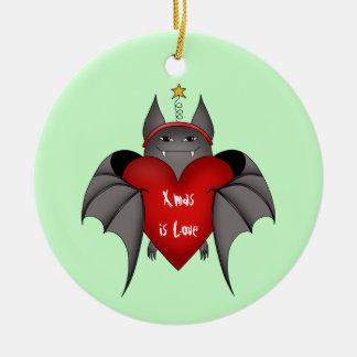Amorous gothic Christmas bat Ceramic Ornament
