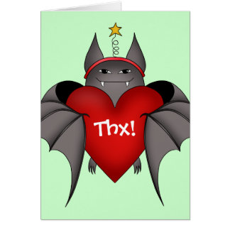 Amorous gothic Christmas bat with red heart Card