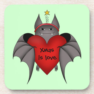 Amorous gothic Christmas bat with red heart Beverage Coasters
