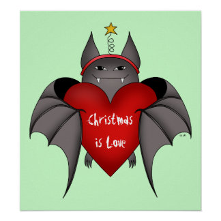 Amorous gothic Christmas bat with red heart Poster