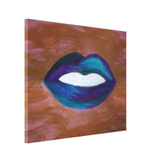 Amorous Modern Original Handpainted Abstract Lips Canvas Print