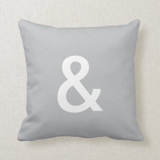 & (ampersand) button pillow, Gray & White Cushion