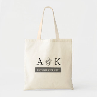 Ampersand Elegance: Gray Wedding Welcome Tote Budget Tote Bag