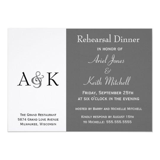 Ampersand Elegance Grey Rehearsal Dinner Invite