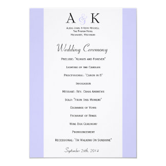 Ampersand Elegance: Periwinkle Wedding Program