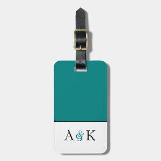 Ampersand Elegance: Teal Honeymoon Luggage Tag