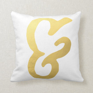 Ampersand Home Decor-Gold and White Cushion
