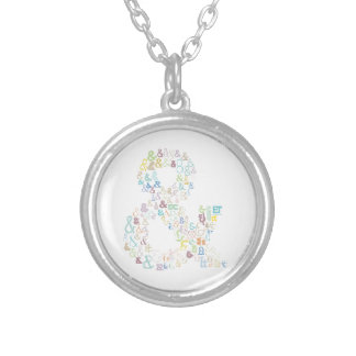 Ampersand pastels silver plated necklace
