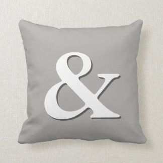 ampersand pillow gray and white modern chic