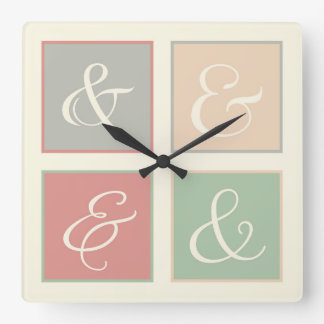 Ampersand Squares, Coral, Peach, Green, Gray Square Wall Clock
