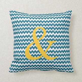 Ampersand throw pillow chevron teal yellow