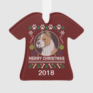 AmStaff Pit Bull Ugly Christmas Sweater Ornament