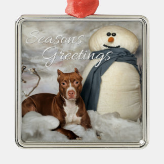 "AmStaff ""Seasons Greetings"" Premium Ornament"