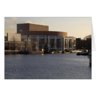 Amstel River and Amsterdam Music Hall Greeting Card