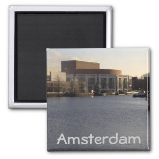Amstel River and Amsterdam Music Hall Square Magnet