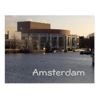 Amstel River and Amsterdam Music Hall Postcard