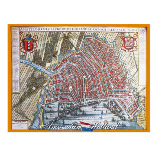 Amsterdam Antique Map Postcard
