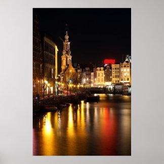 Amsterdam at night  in Amsterdam Netherlands Poster