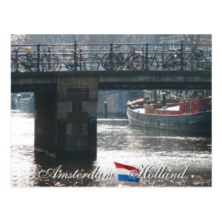 Amsterdam Bicycles on Bridge Holland Postcard