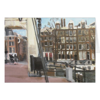 Amsterdam Bridge and Canal Houses Fine Art Greeting Card
