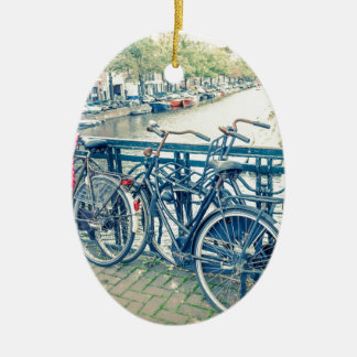 Amsterdam canal and bicycles ceramic ornament