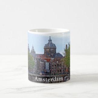 Amsterdam. Canal and Church of Saint Nicholas. Coffee Mug