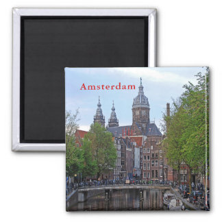 Amsterdam. Canal and Church of Saint Nicholas. Magnet