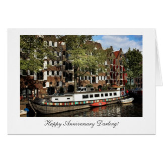 Amsterdam Canal Barge - Happy Anniversay Darling Card