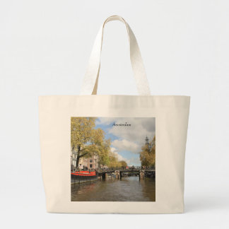 Amsterdam, Canal, Bridge, Houseboat, Church Spire Large Tote Bag