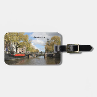 Amsterdam, Canal, Bridge, Houseboat, Church Spire Luggage Tag