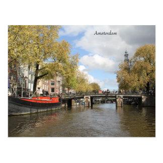 Amsterdam, Canal, Bridge, Houseboat, Church Spire Postcard