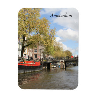 Amsterdam, Canal, Bridge, Houseboat, Netherlands Magnet