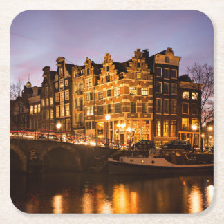Amsterdam canal houses at dusk coaster