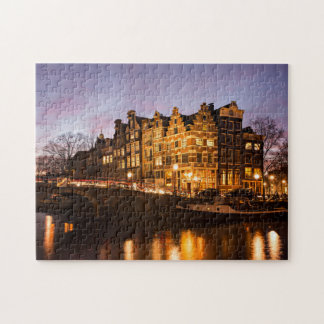 Amsterdam canal houses at dusk jigsaw puzzle
