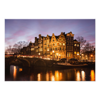 Amsterdam canal houses at dusk print photograph