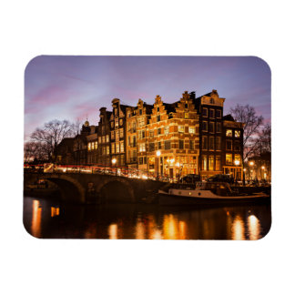 Amsterdam canal houses at dusk rectangular magnet