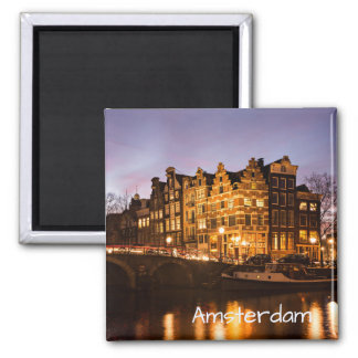 Amsterdam canal houses at dusk text magnet