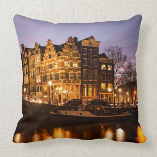Amsterdam canal houses at dusk throw pillow