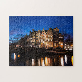 Amsterdam canal houses at night jigsaw puzzle