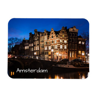 Amsterdam canal houses at night magnet