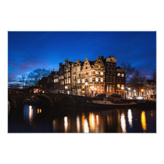 Amsterdam canal houses at night photo print