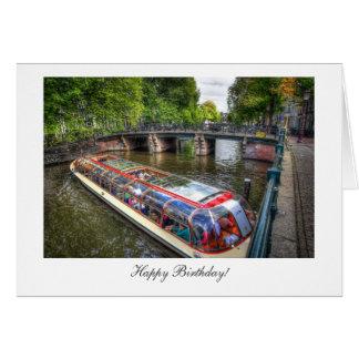 Amsterdam Canal Scene - Happy Birthday Card