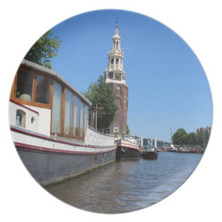 Amsterdam canal view - Boats and spire Dinner Plate