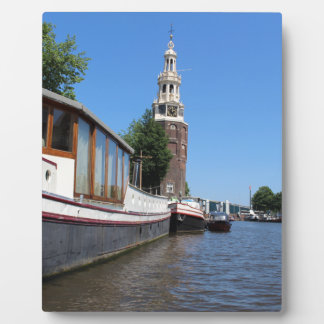 Amsterdam canal view - Boats and spire Display Plaques
